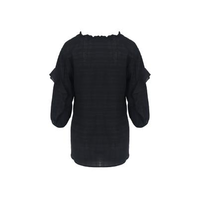 ruffle detail string blouse black